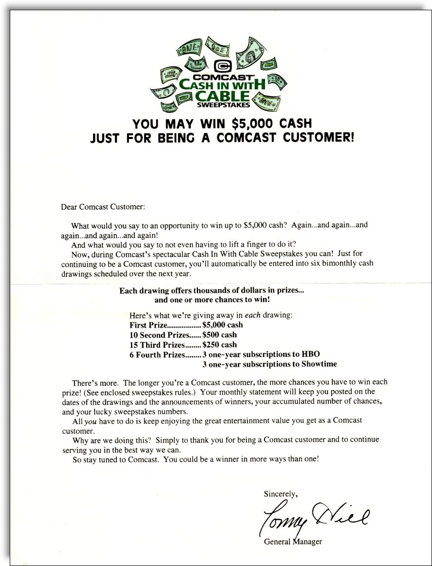 comcast-cable-sweepstakes-letter