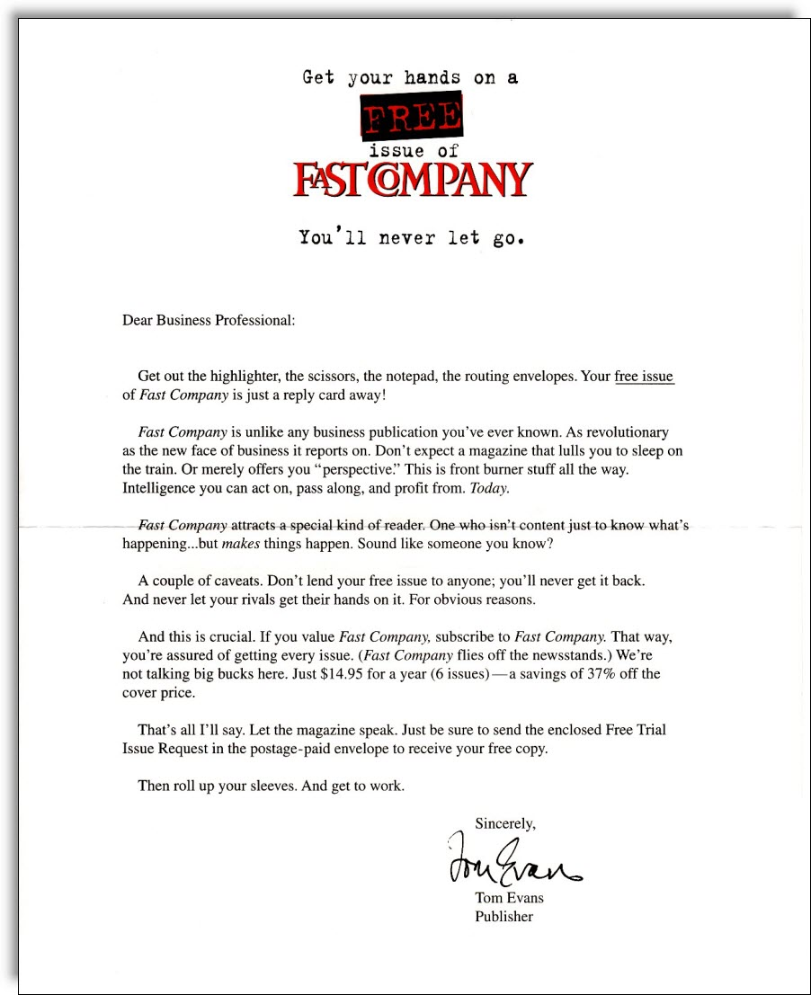 Fast Company Sales Letter  Professional Sales Letter