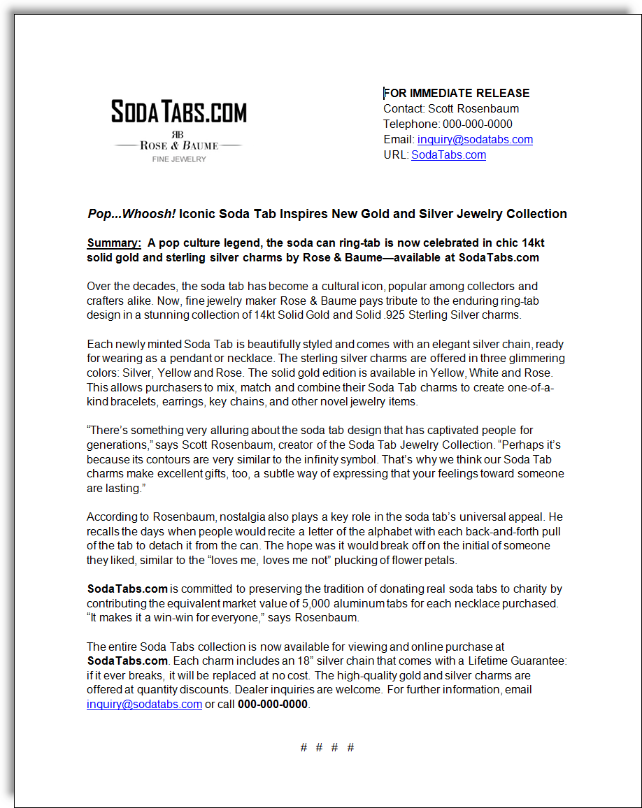 """Soda Tabs"" Jewelry Press         Release"