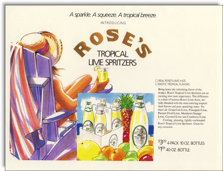 Rose's Tropical Lime Spritzers New Product Concept Board
