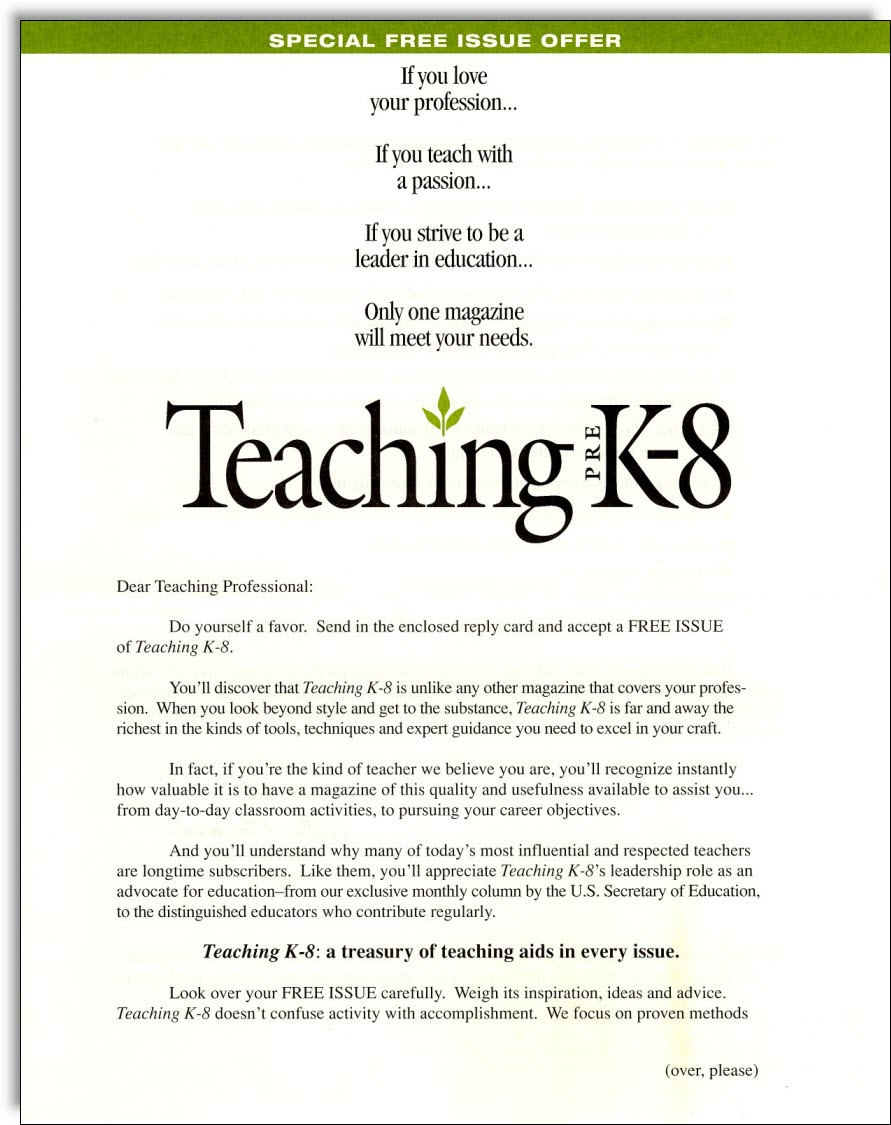 Teaching K Magazine Direct Mail  Jerry Mctigue  Copywriter