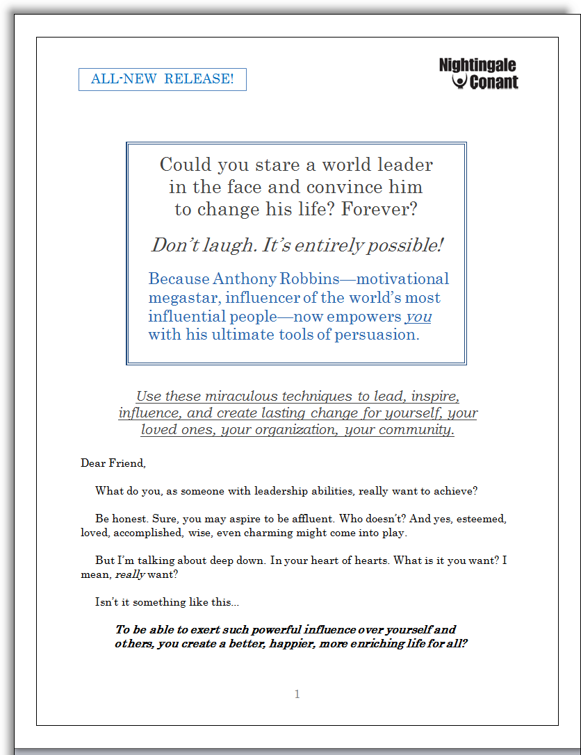 Tony Robbins Sales Letter Jerry Mctigue Copywriter