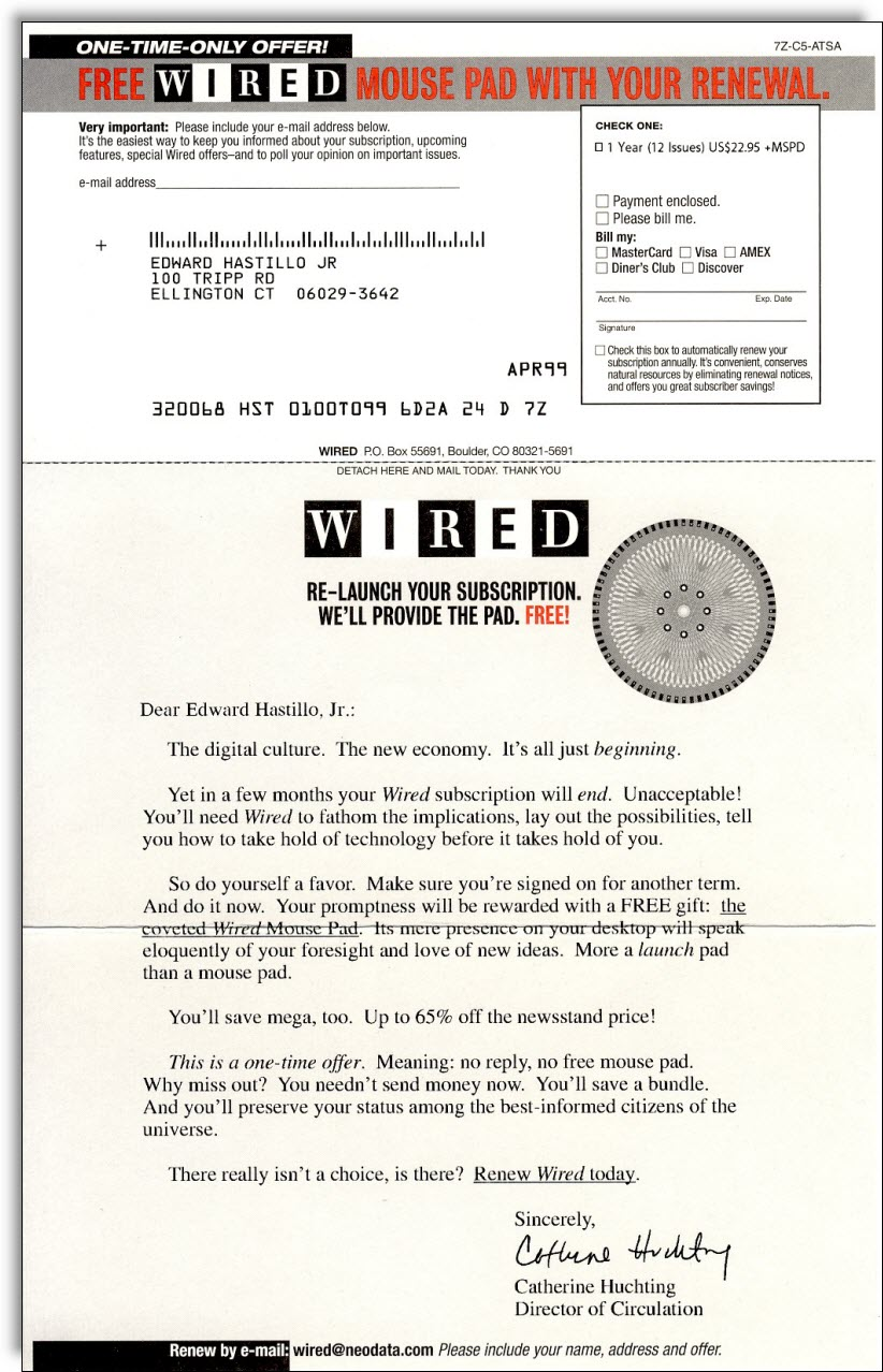 Wired Renewal Campaign - Jerry McTigue - Copywriter