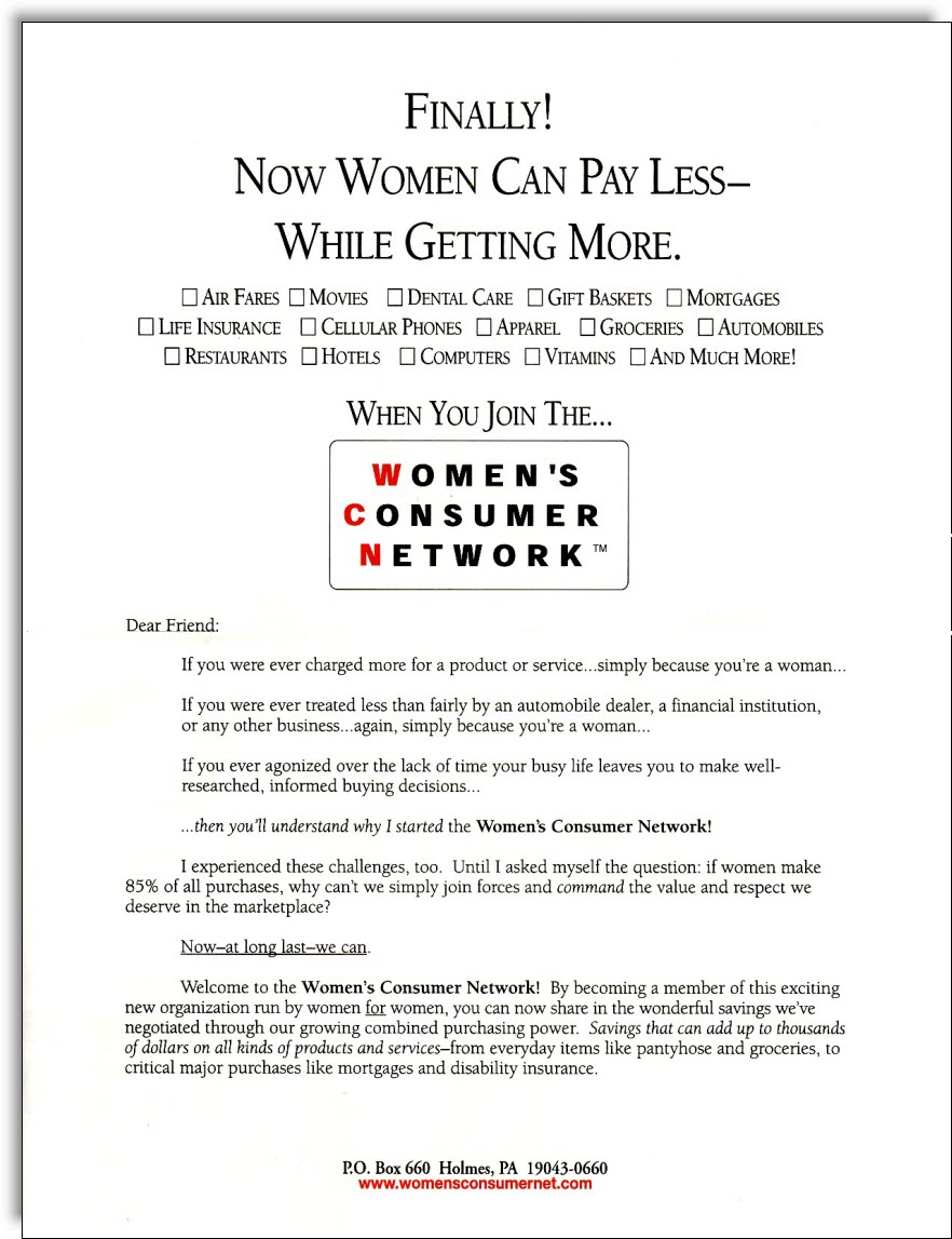 WomenS Consumer Network Direct Mail  Jerry Mctigue  Copywriter