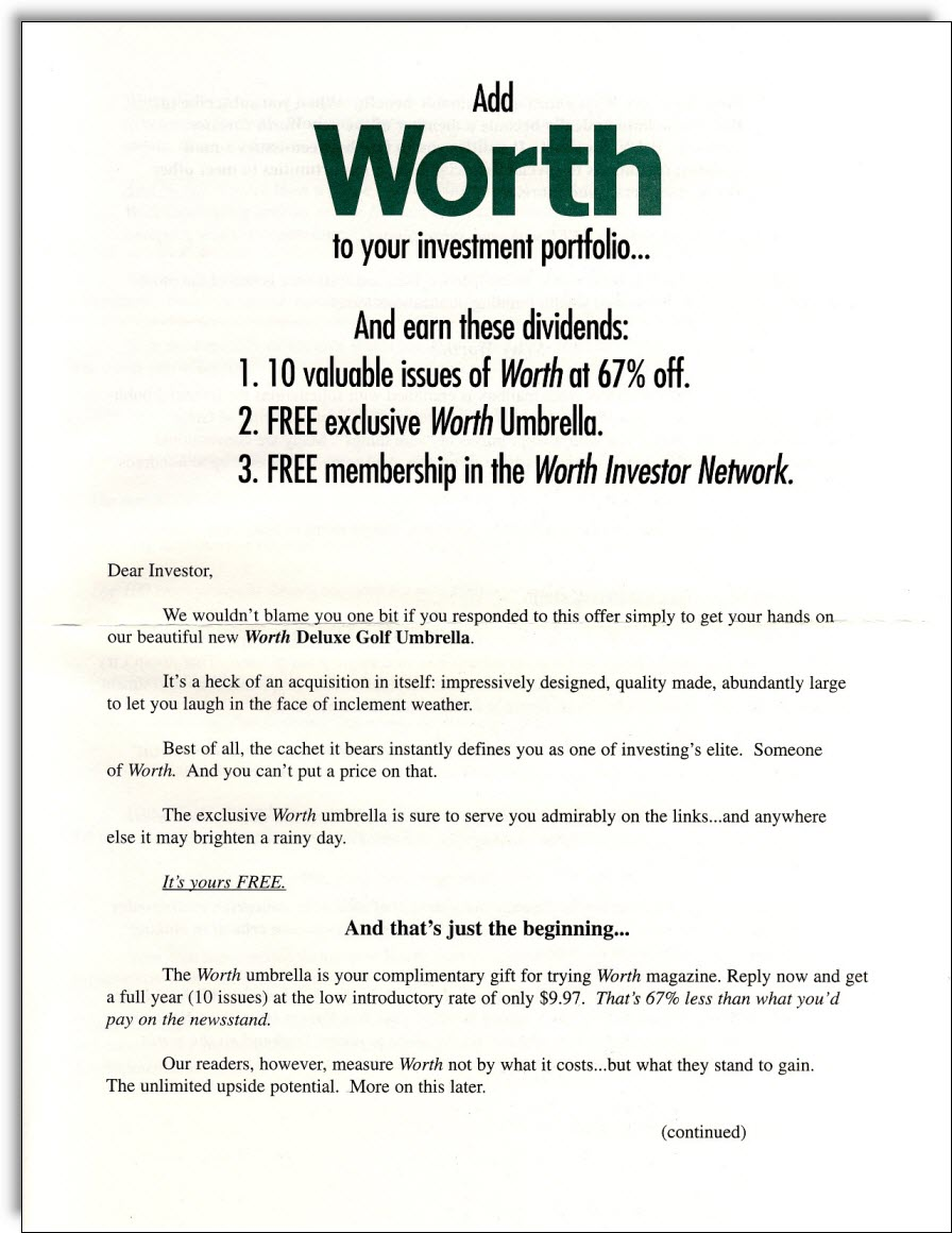 Worth Magazine Direct Mail Package Jerry Mctigue Copywriter